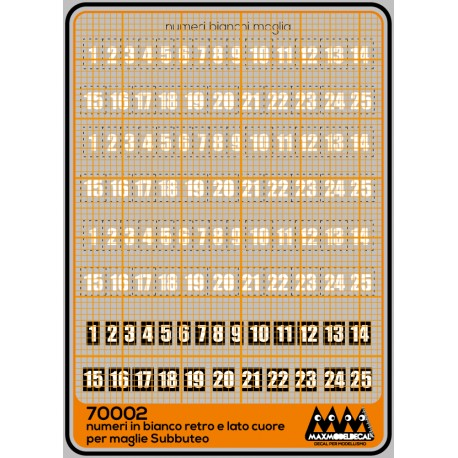 Subbuteo - white numbers and white numbers with black square background - M70002