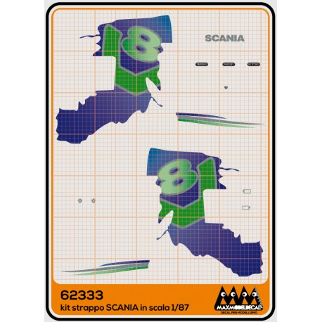 """Decal kit Scania """"Ripped"""" blue-green in 87th scale"""