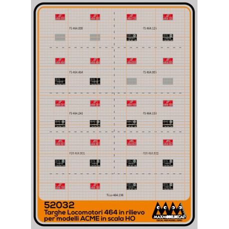 E464 - plates for locomotives in relief